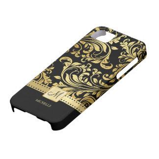 Damasco elegante del negro y del oro con el monogr iPhone 5 Case-Mate carcasa