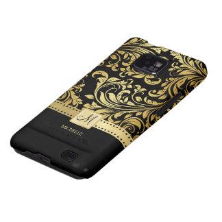Damasco elegante del negro y del oro con el monogr galaxy SII funda