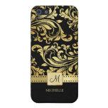 Damasco elegante del negro y del oro con el monogr iPhone 5 carcasas
