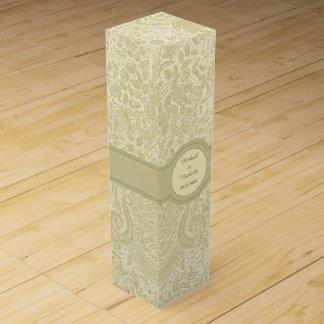 Damasco elegante del oro caja de vino
