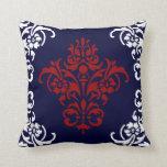 Damasco elegante del rojo y del blanco de azules m