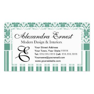 Damasco elegante del verde de mar con su monograma tarjetas de visita