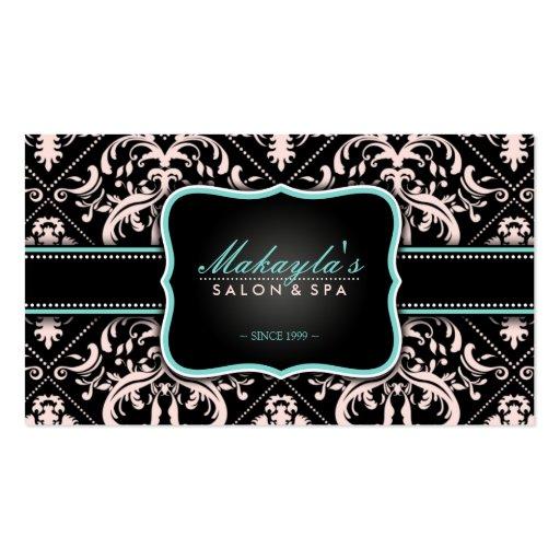 Damasco elegante del vintage del rosa en colores p plantilla de tarjeta de visita