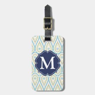 Damasco elegante moderno Paisley azul personalizad Etiquetas Bolsa