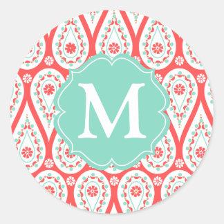 Damasco elegante moderno Paisley coralina personal Etiquetas Redondas