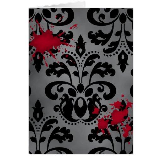 Damasco elegante negro y gris con la sangre Hallow