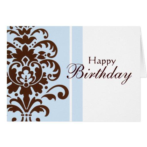 Damasco elegante para el feliz cumpleaños - tarjeta de felicitación