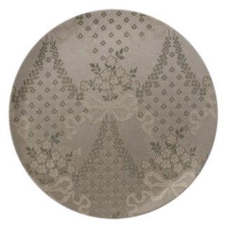 Damasco elegante platos para fiestas