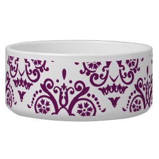 Damasco elegante púrpura y blanco tazón para perro