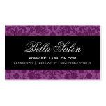 Damasco elegante púrpura y negro del ciruelo del v plantilla de tarjeta de negocio