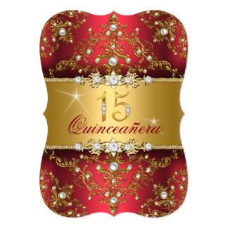 """Damasco elegante Quinceanera rojo de rubíes de la Invitación 5"""" X 7"""""""