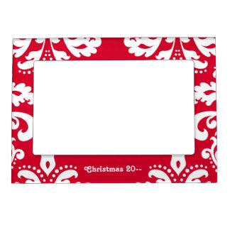 Damasco elegante rojo y blanco del navidad marcos magnéticos