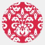 Damasco elegante rojo y blanco del navidad pegatinas redondas