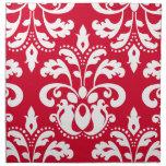 Damasco elegante rojo y blanco del navidad servilleta de papel