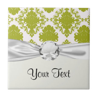 damasco elegante romántico del sabio blanco azulejo cuadrado pequeño