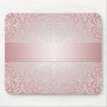 Damasco elegante rosado de lujo Mousepad Alfombrilla De Ratón