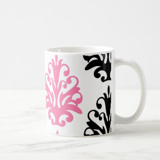 damasco elegante rosado y negro blanco taza clásica