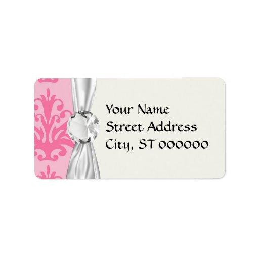 damasco elegante rosado y negro del tono dos etiqueta de dirección