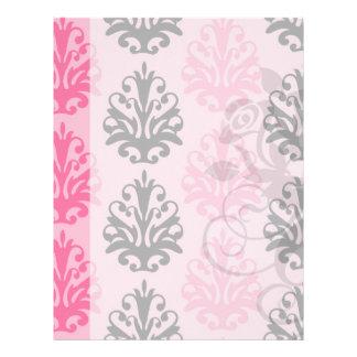 damasco elegante rosado y negro del tono dos plantillas de membrete