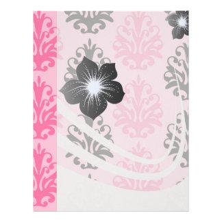 damasco elegante rosado y negro del tono dos membrete a diseño