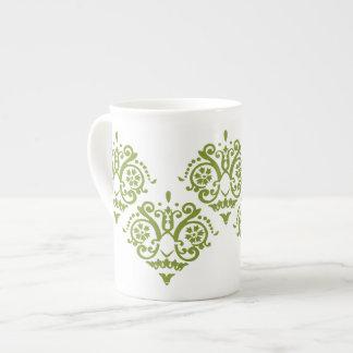 Damasco elegante verde y blanco taza de porcelana
