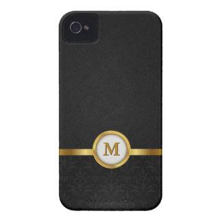 Damasco elegante y cuero negro con el monograma de iPhone 4 Case-Mate fundas