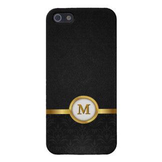 Damasco elegante y cuero negro con el monograma de iPhone 5 fundas
