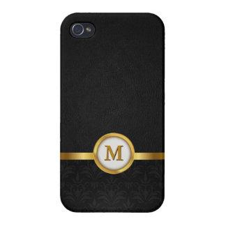 Damasco elegante y cuero negro con el monograma de iPhone 4 funda