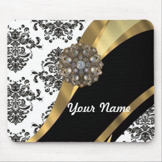 Damasco elegante y oro negros y blancos alfombrillas de ratón