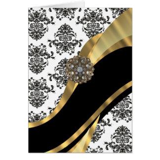 Damasco elegante y oro negros y blancos felicitación