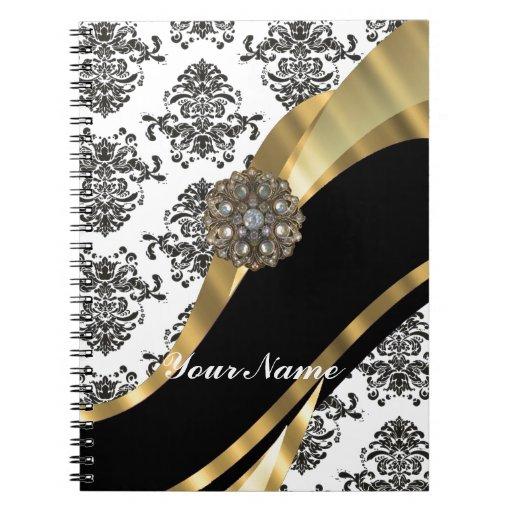 Damasco elegante y oro negros y blancos cuadernos