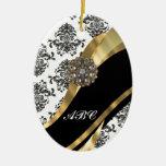 Damasco elegante y oro negros y blancos adorno para reyes