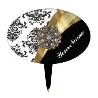 Damasco elegante y oro negros y blancos decoraciones de tartas