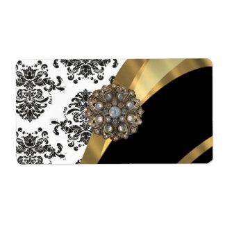 Damasco elegante y oro negros y blancos etiquetas de envío