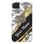 Damasco elegante y oro negros y blancos Case-Mate iPhone 4 funda