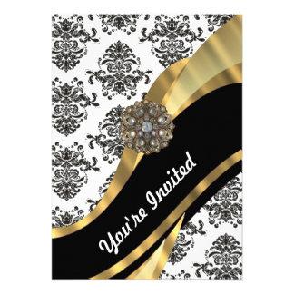 Damasco elegante y oro negros y blancos comunicados personalizados