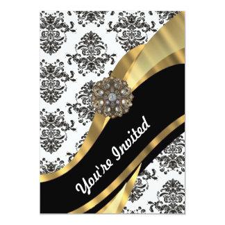 Damasco elegante y oro negros y blancos invitación 12,7 x 17,8 cm