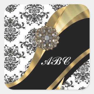 Damasco elegante y oro negros y blancos pegatina cuadrada