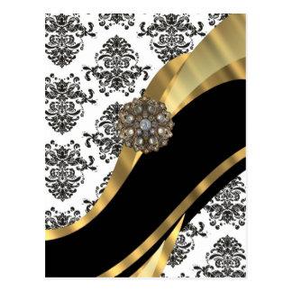 Damasco elegante y oro negros y blancos tarjetas postales