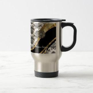 Damasco elegante y oro negros y blancos taza de café
