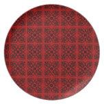 Damasco en rojo oscuro plato para fiesta