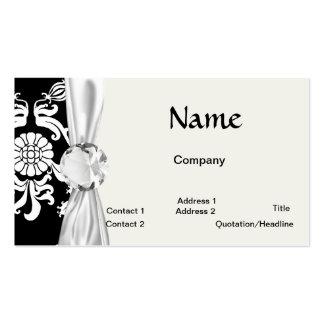 damasco enrrollado adornado blanco y negro tarjetas de visita