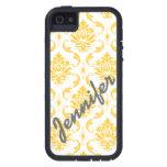 Damasco femenino, amarillo con el caso conocido de iPhone 5 Case-Mate fundas
