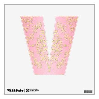 Damasco femenino de lujo floral del rosa y del ama vinilo
