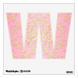 Damasco femenino de lujo floral del rosa y del ama vinilo decorativo