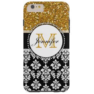 Damasco femenino del negro del brillo del oro funda de iPhone 6 plus tough