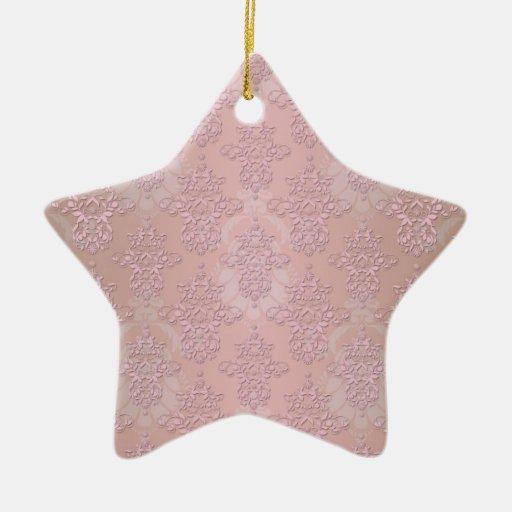 Damasco femenino del rosa del soplo de polvo adornos de navidad