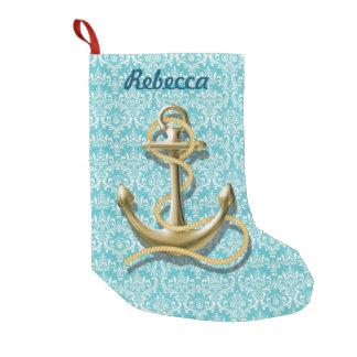 damasco femenino moderno del trullo del ancla del calcetín de navidad pequeño