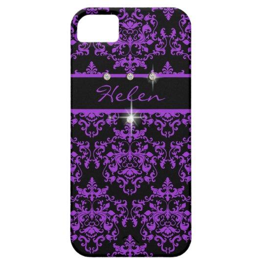Damasco femenino negro púrpura de la chispa funda para iPhone SE/5/5s