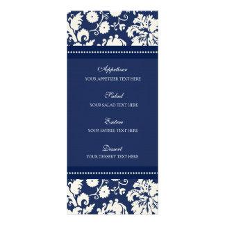"Damasco floral azul del menú del boda folleto publicitario 4"" x 9"""